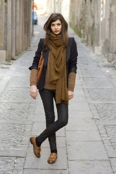 Women's Winter fashion layers and colors - wool knit brown scarf, gray/black blazer, brown sweater, black jeans, brown oxfords
