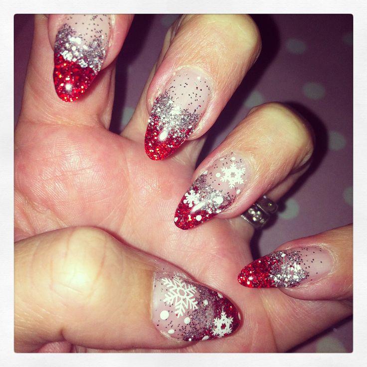 Pre Christmas nails | Stiletto/almond nails love um | Pinterest