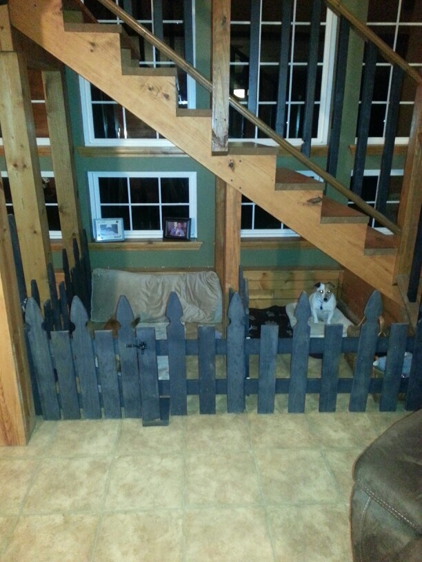 Dog bedroom under stairs dream home dog room pinterest for Bedroom under stairs