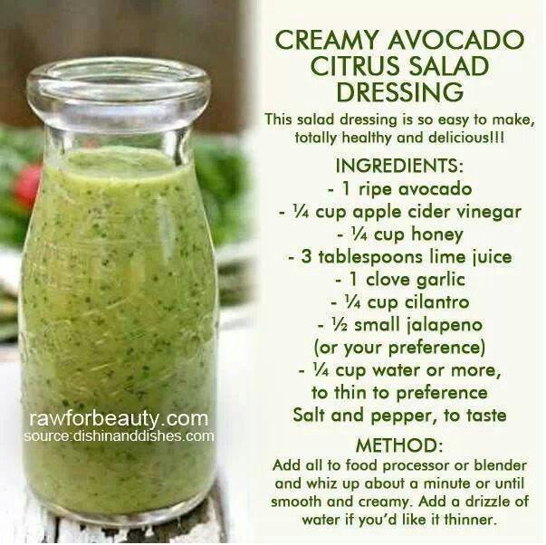 Creamy Avocado Citrus Salad Dressing   clean eating   Pinterest