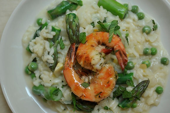 Preserved Lemon and Spring Vegetable Risotto with Grilled Pernod Shri ...