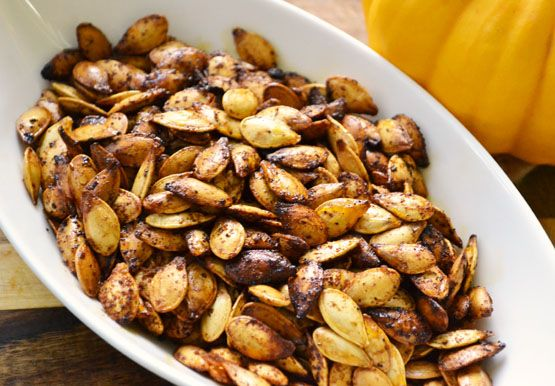 Spiced Roasted Pumpkin Seeds Make sure you wash and dry your seeds ...