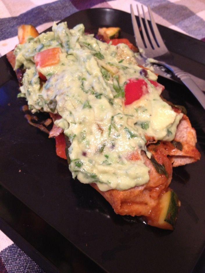 ... bean enchilladas with cilantro-avocado cream sauce | The Almost Vegan