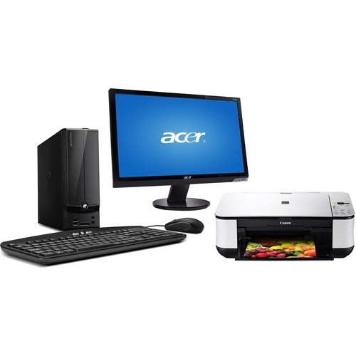 With desktop pc monitor and printer with windows 8 pro upgrade option