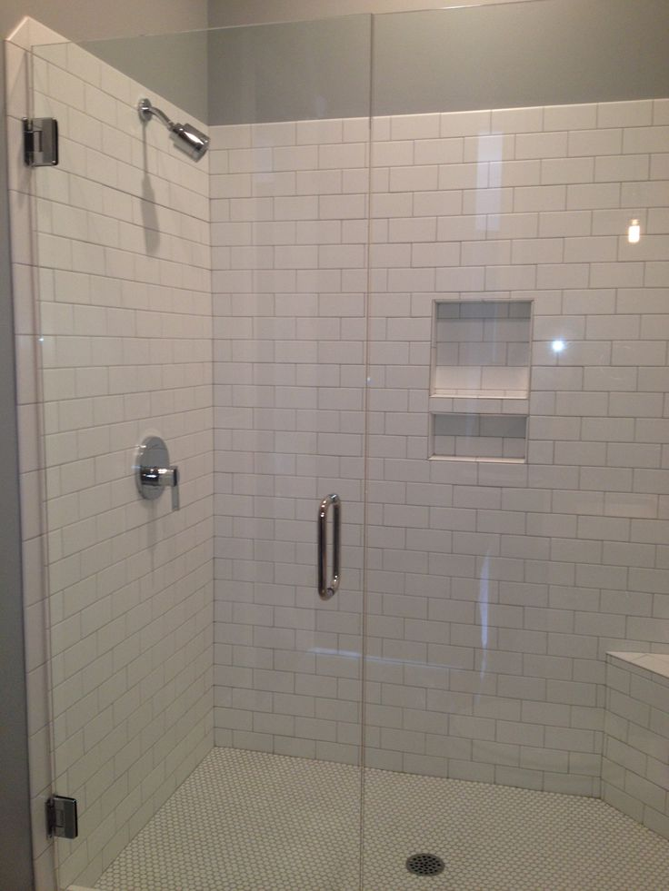 White Matte Subway With Light Gray Grout White Penny Rounds