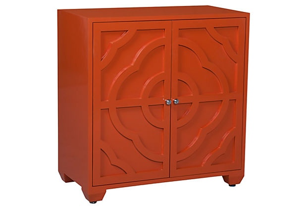 Alex Carved Cabinet, Tangerine on OneKingsLane  breakfast nook corner