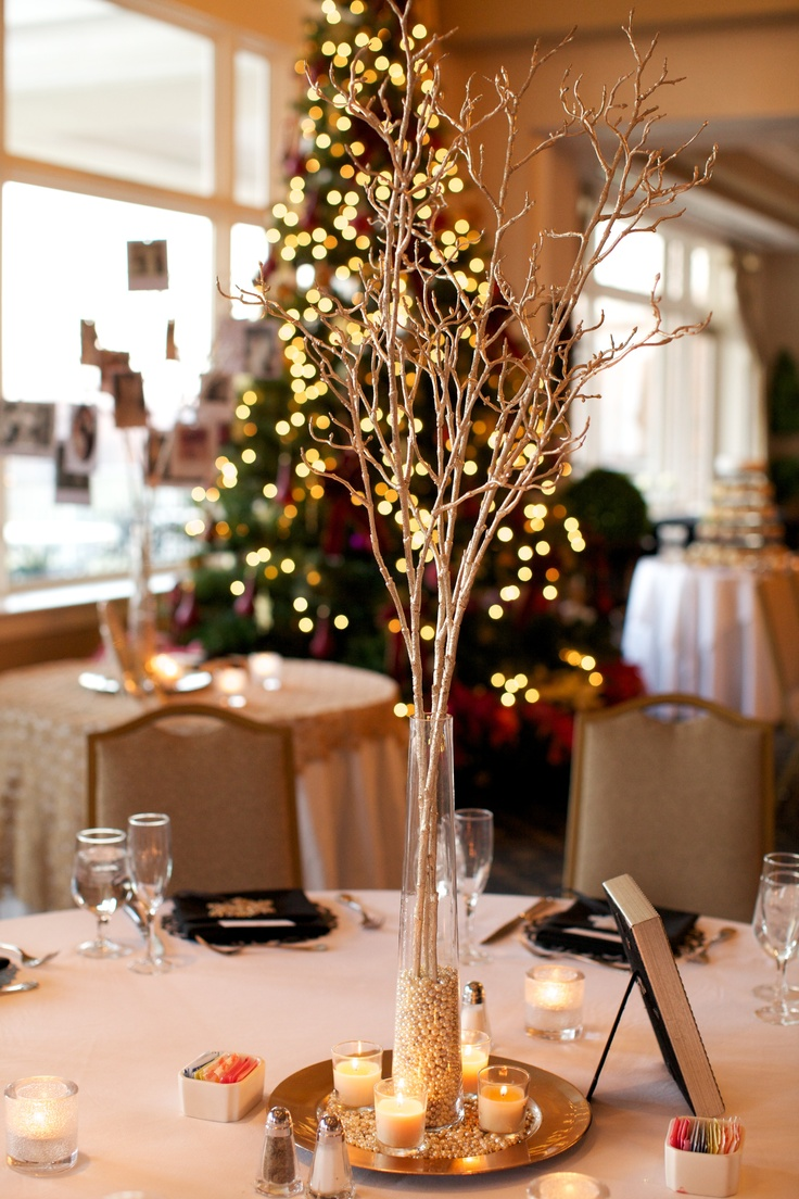 Wedding centerpieces black white silver gold winter