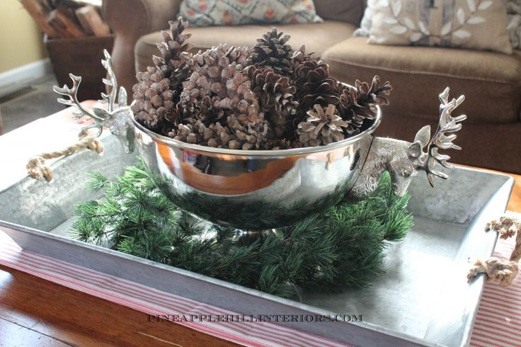 Silver Bowl of Pine Cones | Christmas at Home | Pinterest