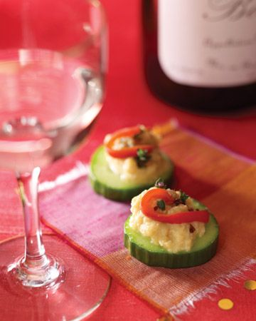 Cucumber Slices with Chickpea Puree and Thyme