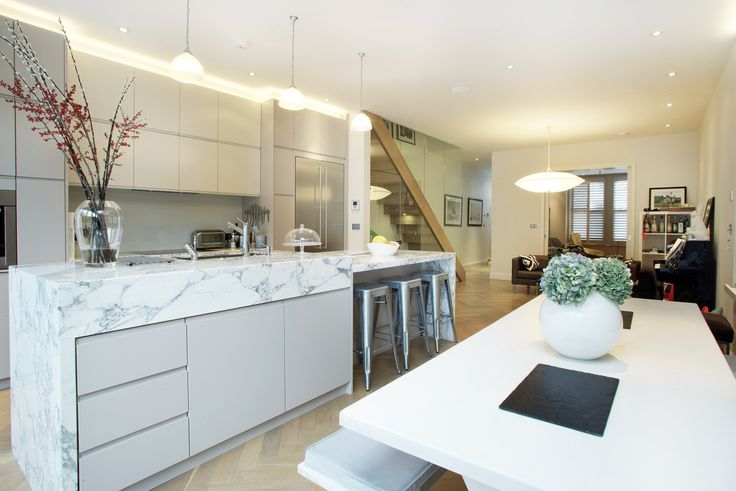 Parsons Green Terraced House London Kitchen By Peek Architecture Marble Island Unit Handleless