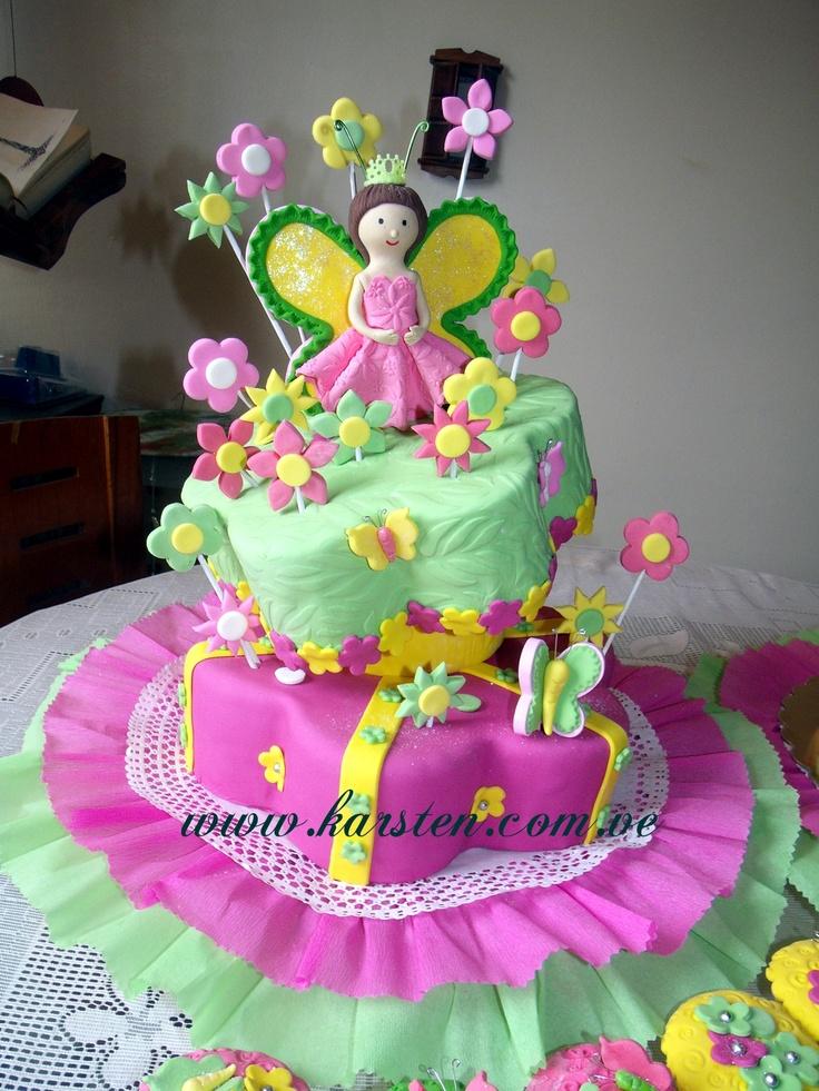 Torta Flores Mariposas Ponque Sabor Vainilla Pictures