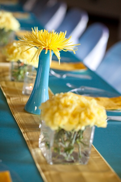 Yellow and blue centerpieces table decorations pinterest