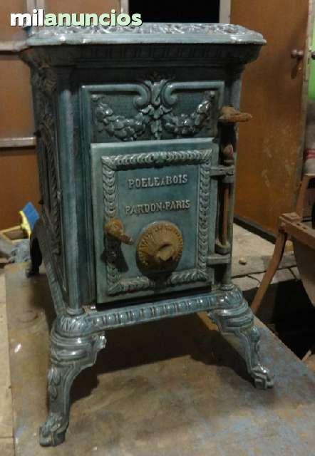 Estufa de le a antigua en hierro esmalta foto 2 - Milanuncios chimeneas de hierro ...