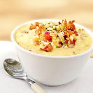 Sweet Corn Puree with Niman Ranch Bacon & Fresh Corn Salsa (YUM)