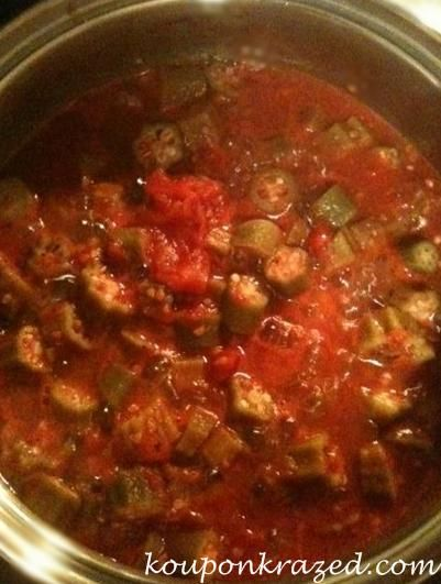 Stewed Okra and Tomatoes - used 3 28oz cans diced tomatoes, 3 1/2 cups ...