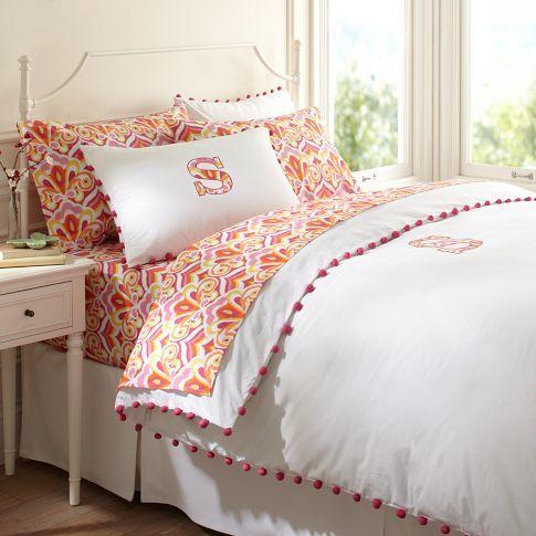 Duvet Cover With Pom Pom Trim Cute Girls Rooms Pinterest