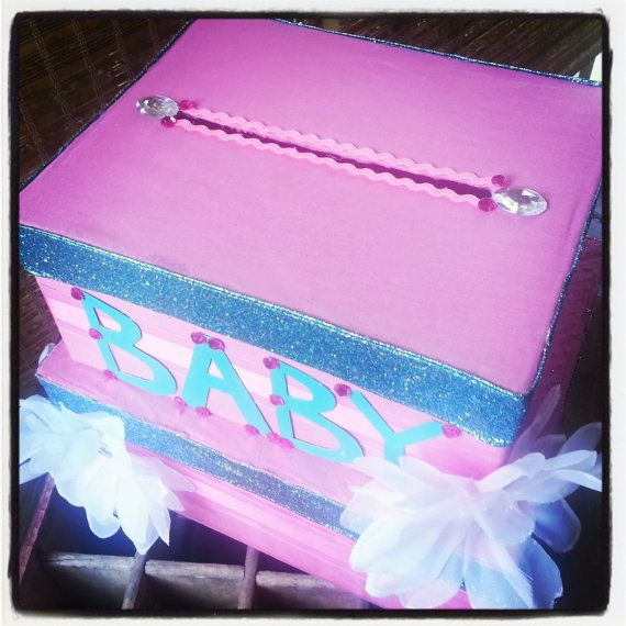 baby shower 2 tiered card box turquoise pink