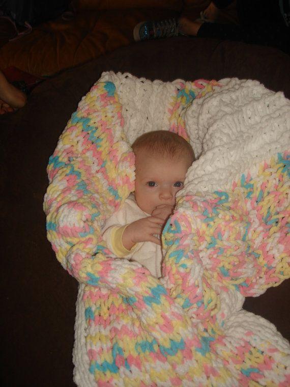 Finger Knitting Blanket : Row finger knitted soft baby girl blanket