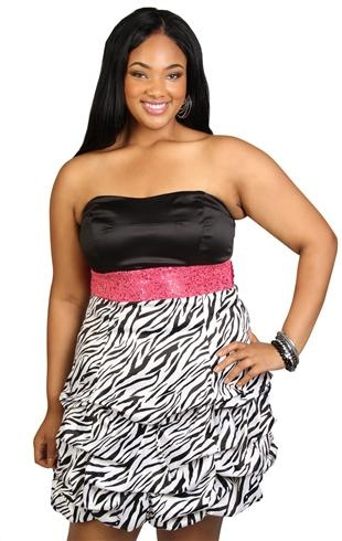 Zebra Plus Size Prom Dresses 110