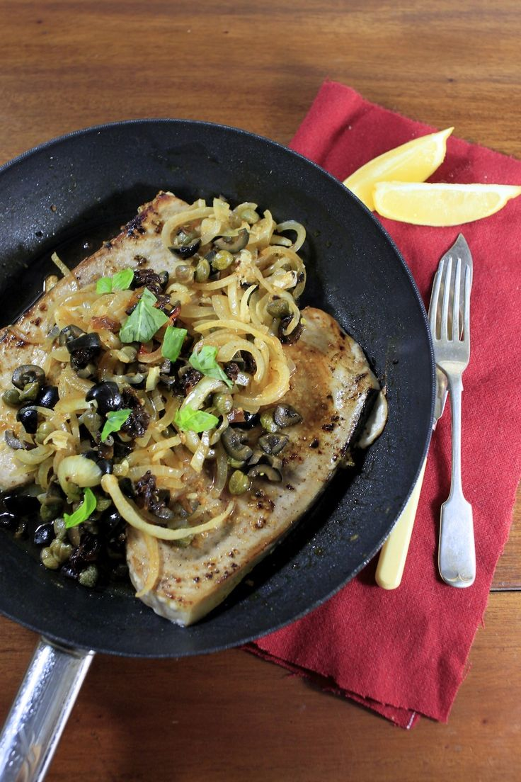 Sicilian-style Swordfish with sweet sour kale and pine nuts