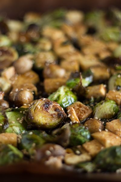 Sweet Sesame Roasted Brussel Sprouts: mushrooms, scallions, firm tofu ...