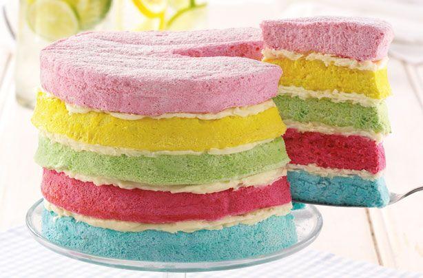 Rainbow layer cake recipe - goodtoknow