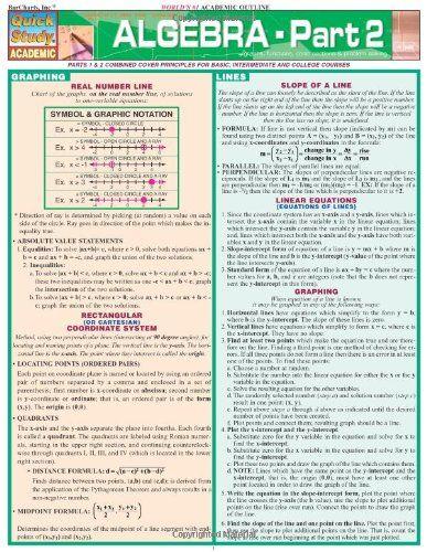 Algebra part 2 quick study s b kizlik