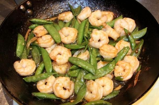 Garlic and Ginger Stir-Fried Shrimp with Snow Peas