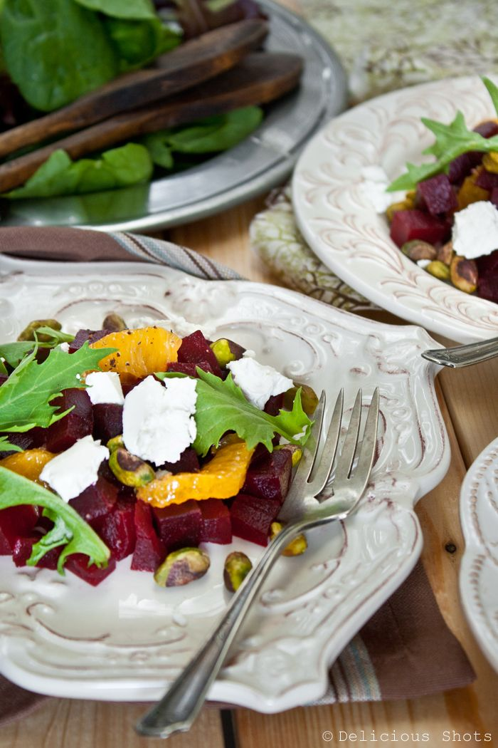 beet & goat cheese salad >> DeliciousShots {substitute spinach for ...