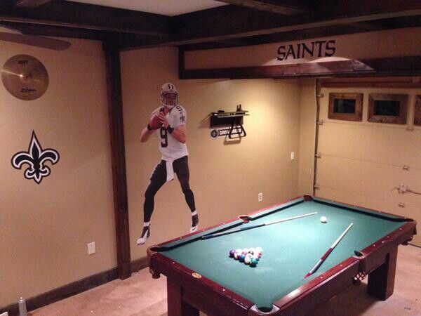 New Orleans Saints Man Cave Decor : Saints man cave with pool table my new orleans