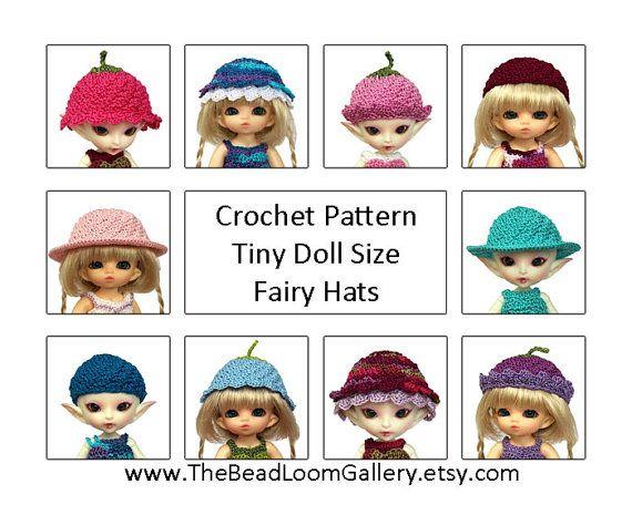 How To Make Crochet Amigurumi Patterns : Crochet Pattern - Miniature Doll Size Fairy Hats ...