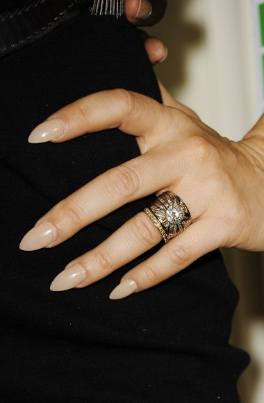Stiletto nails is the new craze! I love it! Looks beautiful with a nude color and matt finish