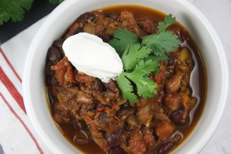 Three-Bean Chili. #vegan #cacao | My Foods. | Pinterest