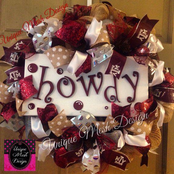 Texas A M Wreath A M Wreath Aggies Wreath by UniqueMeshDesign