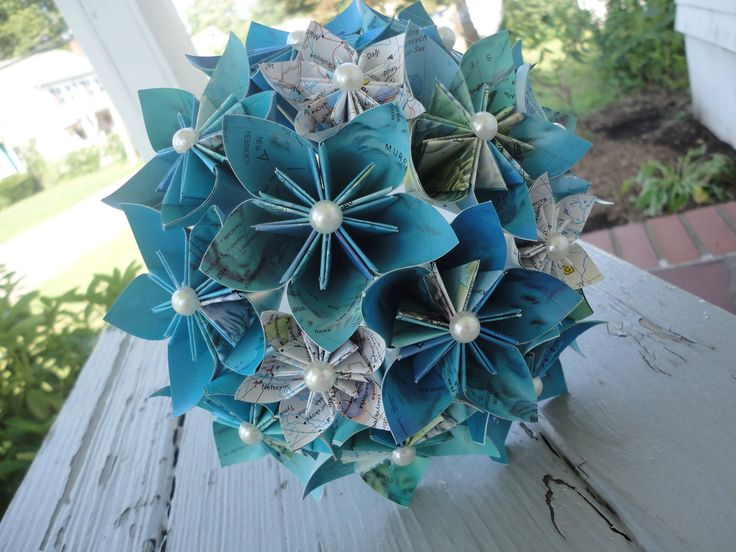Map Paper Flower Bouquet Bridesmaid Bouquet Wedding Kusudama Origami