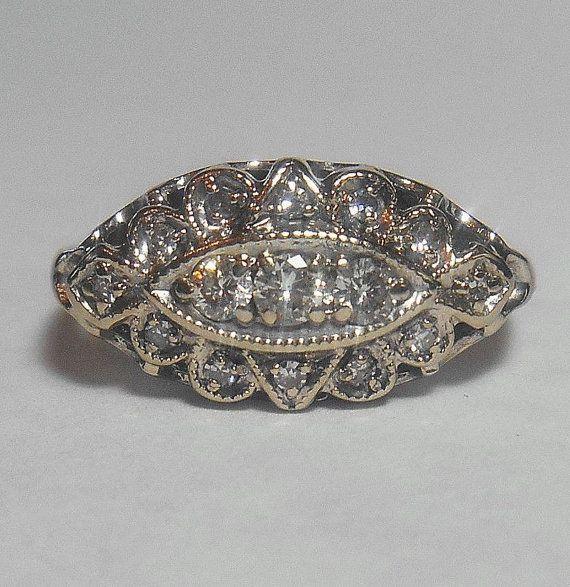 vintage princess ring or navette ring 15 sparkling
