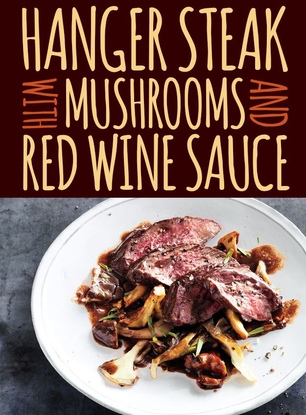 Hanger Steak with Mushrooms and Red Wine Sauce | Recipe