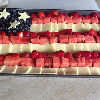 Cheese and fruit flag!  So easy!
