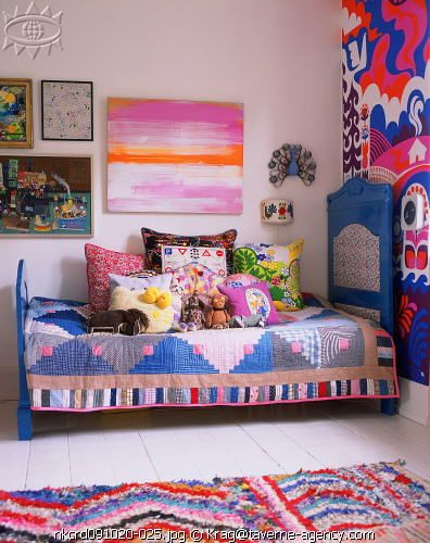 wildly colorful and artsy. http://www.thebooandtheboy.com/2010/01/colourful-vintage-inspired-kids-rooms.html