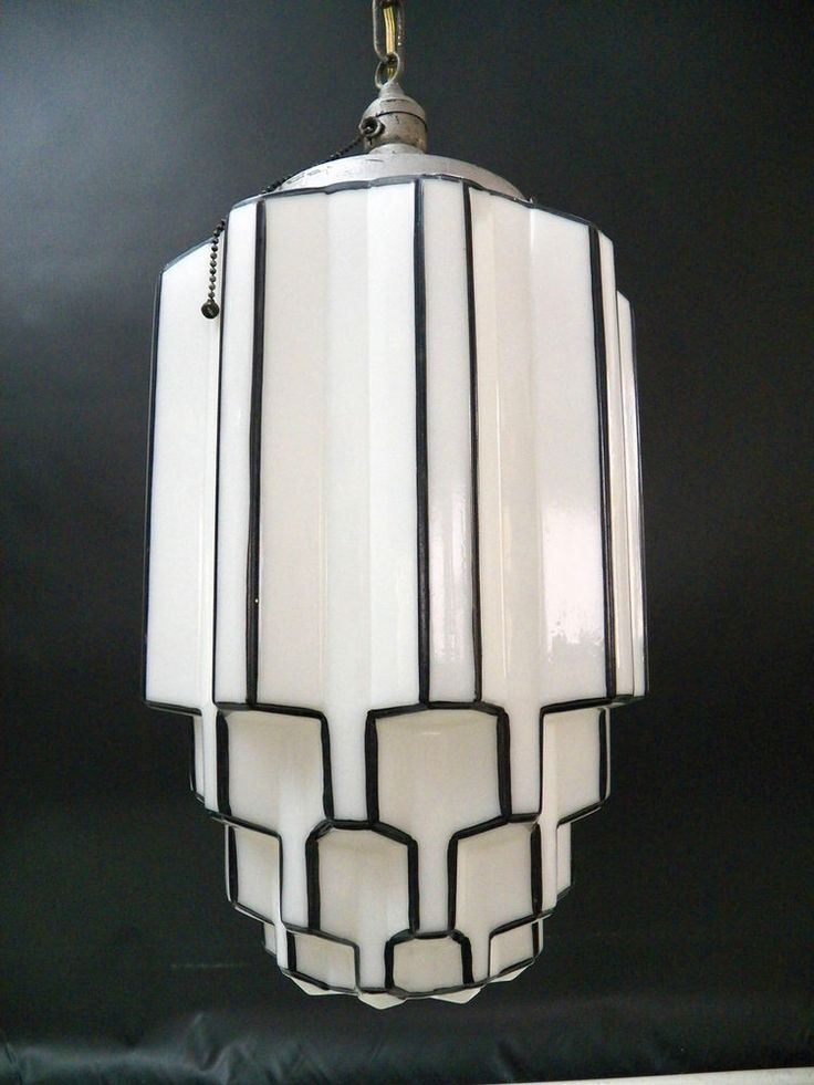 Dramatic Antique ART DECO SKYSCRAPER Milk Glass Light
