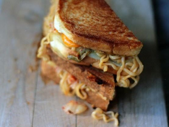Kimchi ramen grilled cheese sandwich   Hideous Foods I'd never eat, n ...