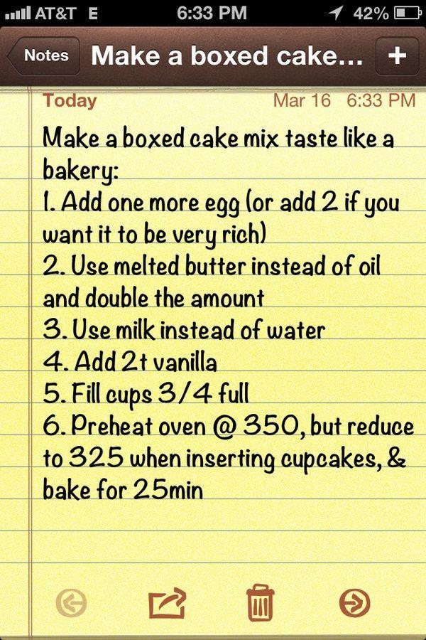 Make a boxed cake mix taste like a bakery cake.