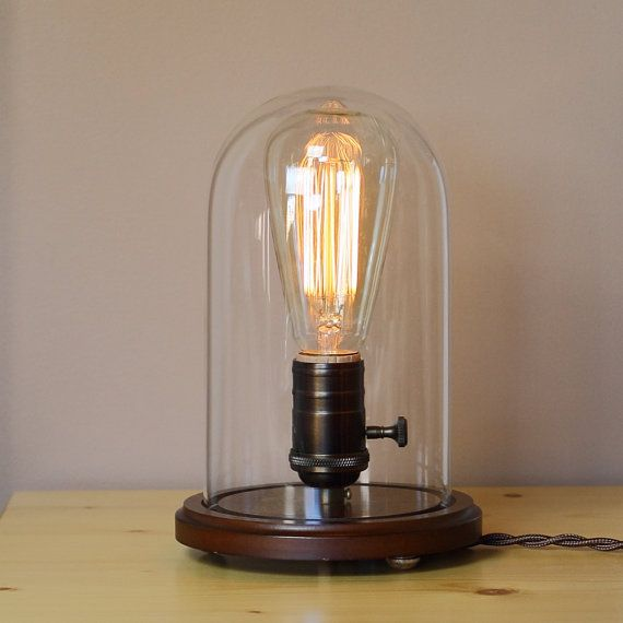 Sale industrial edison desk lamp w edison light bulb and glass dom