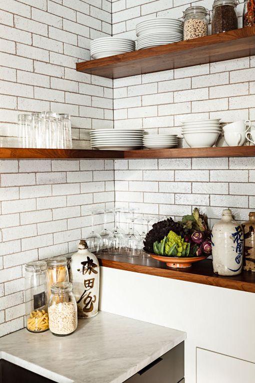 subway tile corner wood shelving kitchen love pinterest. Black Bedroom Furniture Sets. Home Design Ideas