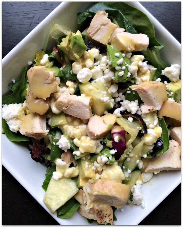 Spinach Salad with chicken, avocado, cucumber, goat cheese and 21 Day ...