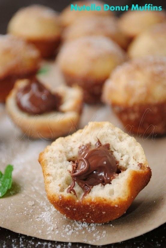 Nutella filled baked donut muffins | Desserts | Pinterest