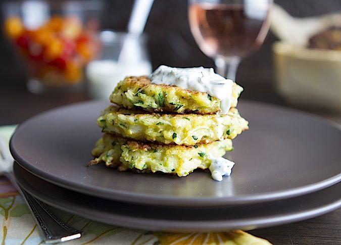Zucchini Pancakes With Minty Dill Creme Fraiche Recipe — Dishmaps