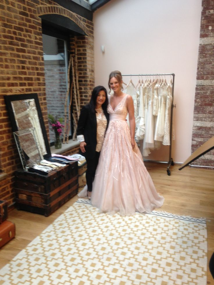 Real bride Katie from Texas with Vatana Watters at the Glamour Magazine shoot at Lovely Bride NYC  Real bride in Watters Soledad gown in Whisper Pink.