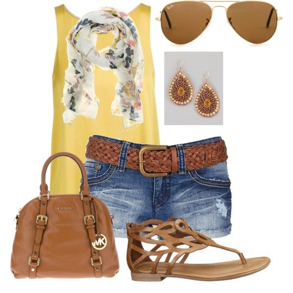 yellow tank  jean shorts outfit for spring!