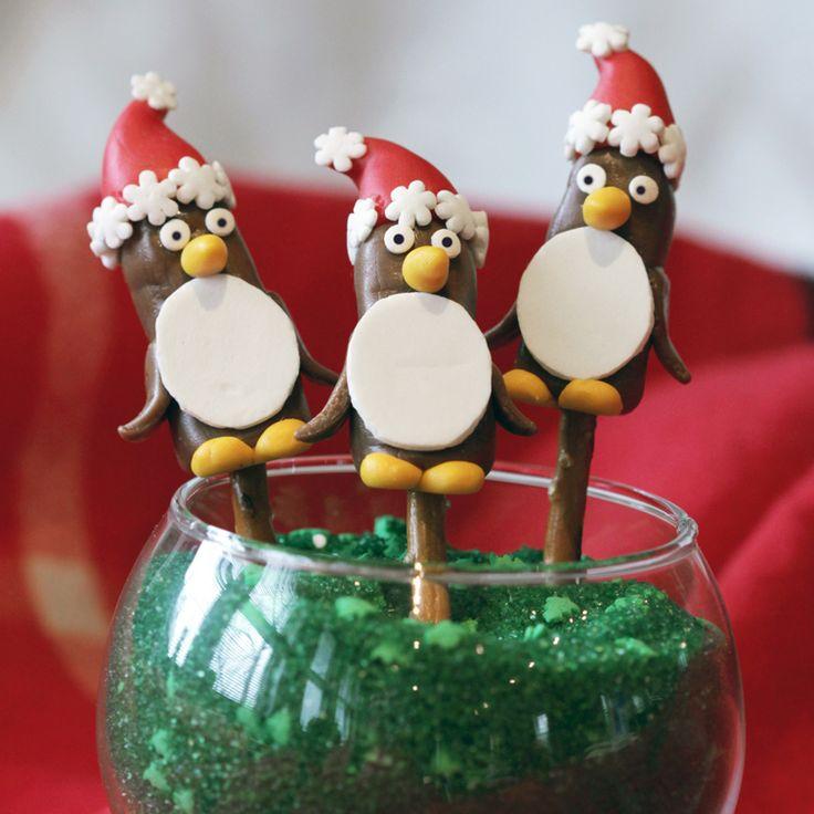 Penguin Pretzel Toppers -- adorable recipe using our pretzel sticks!